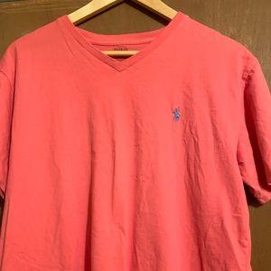 Men's pink v neck top.